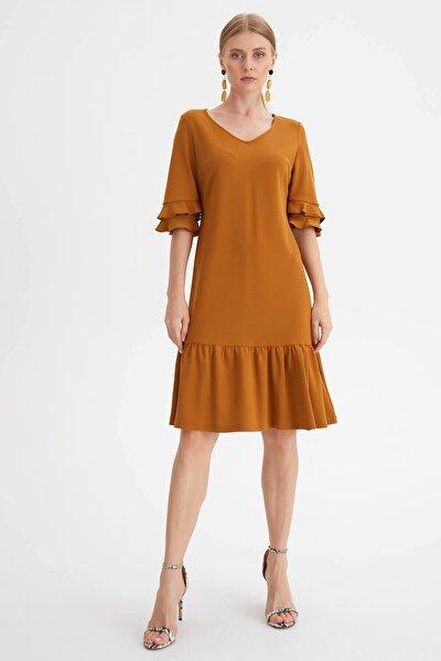 Kadın Sarı Eteği Volanlı Elbise