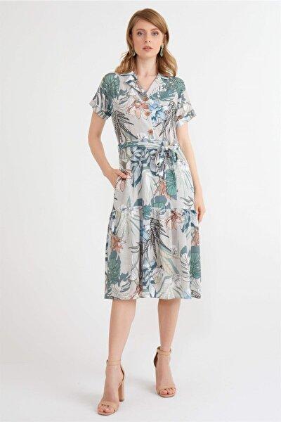 Kadın Haki Reglan Kol Elbise
