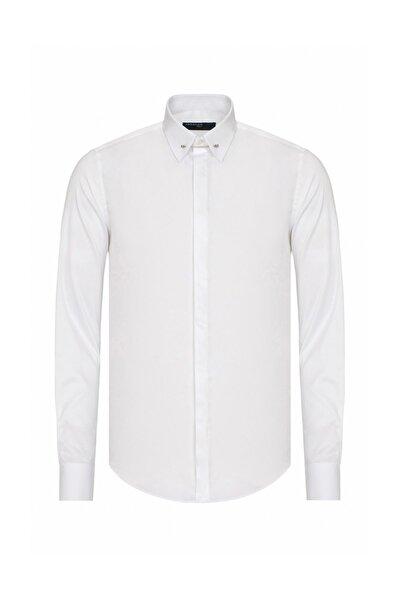 Erkek Beyaz Slim Fit Yaka İğneli Gömlek