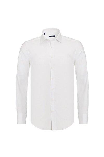 Erkek Beyaz Slim Fit Double Manşet Gömlek
