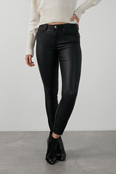 Deri Görünümlü Paçası Fermuarlı Skinny Fit Onlkendell Pantolon Kadın Pantolon 15216958