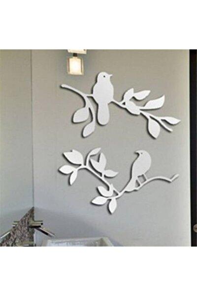 Yapraklı Kuş Desen Akrilik Ayna 2 Parça Duvar Dekoru