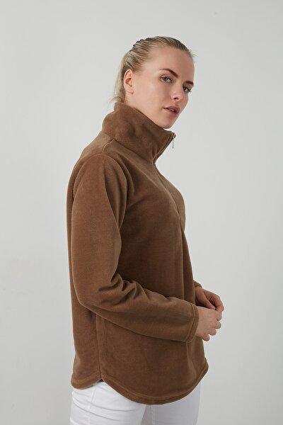Kadın Kahverengi Fermuarlı Dik Yaka Yumuşak Polar Sweatshirt 5203124