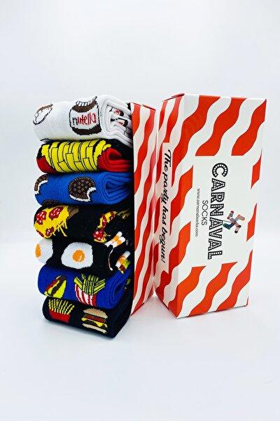 7'li Fast Food Yemek Yiyecek Desenli Çorap Set 1014