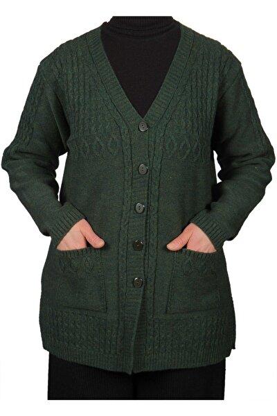 Kadın Haki Yeşil Kısa Düğmeli Hırka