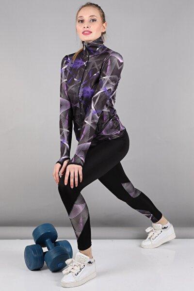 Kadın Mor Spor Sweat Tayt Takım