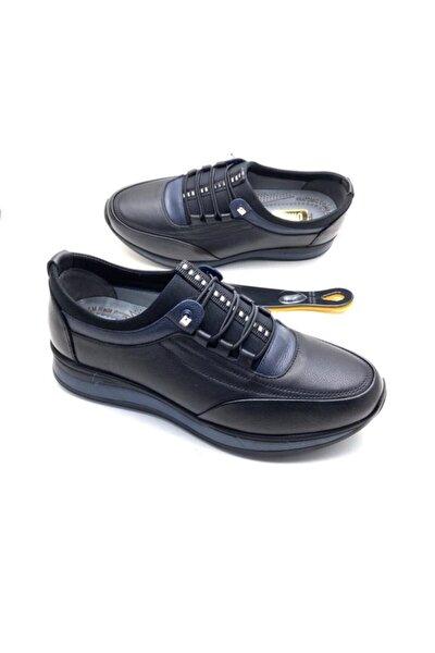 Erkek Siyah Hakiki Deri Tam Ortopedik Ayakkabı