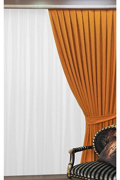 Pileli Fon Perde - Hardal Sarısı - 100 X 260