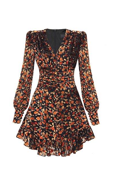 Kadın Kahverengi Çiçek Desenli Yakma Kadife Astral Elbise