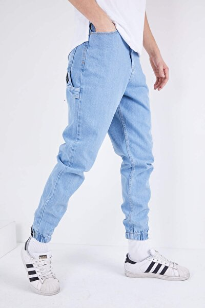 Erkek Açık Mavi Düz Paçası Lastikli Likrasız Kot Pantolon