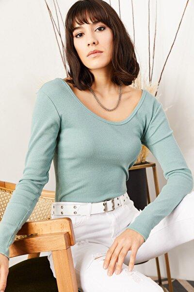 Kadın Su Yeşili Geniş Yakalı Kaşkorse Bluz BLZ-19000722