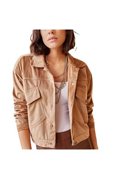 Kadın Kadife Bej Ceket Asıst