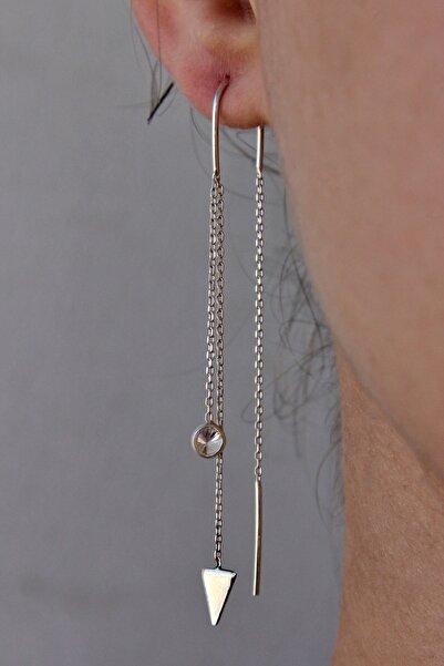 Kadın Üçgen Motifli Gümüş Tasarım Zincir Küpe K041101
