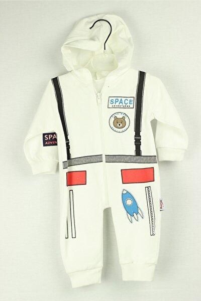 Bebek Astronot Uzay Baskılı Tulum Takım Kapşonlu