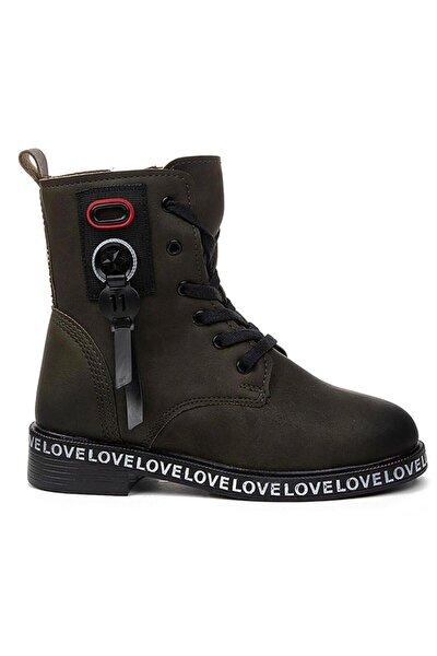 Kız Çocuk Haki Termal İçi Kürklü Bot Ayakkabı 7085