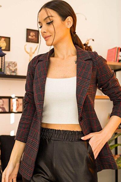 Kadın Füme Desenli Tek Düğmeli Ceket ARM-21K001067