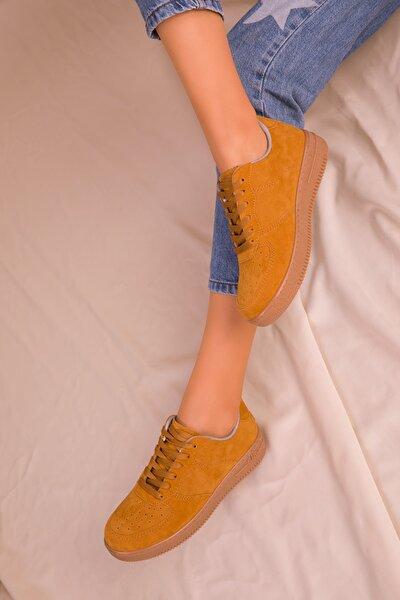 Hardal Sari Suet Kadın Sneaker 15745