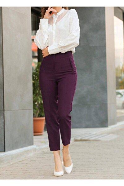 Kadın Bordo Yüksek Bel Dikişli Binici Pantolon 1071