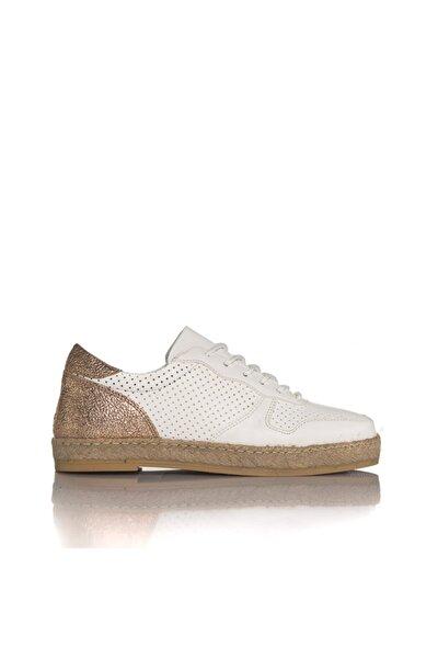 Kadın Beyaz Vegan Cilt Bağcıklı Casual Ayakkabı -i3011