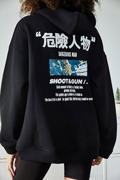 Kadın Siyah Sırtı Baskılı Kapüşonlu Polarlı Kışlık Oversize Sweatshirt 1KZK8-11106-02