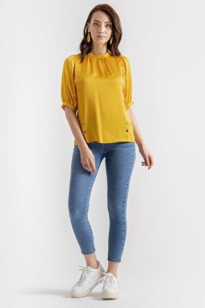 Kadın Hardal Sıfır Yaka Bluz K20BL080