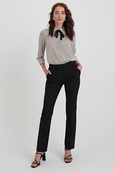Kadın Siyah Boru Paça Pantolon