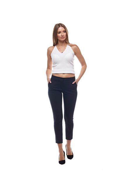 Kadın Lacivert Bilek Boy Basic Pantolon