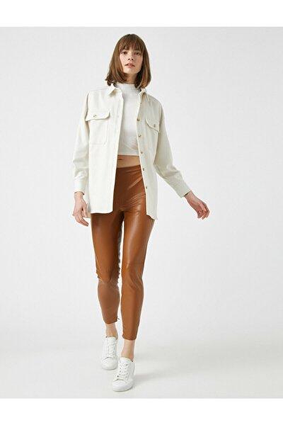 Kadın Kahverengi Deri Görünümlü Pantolon