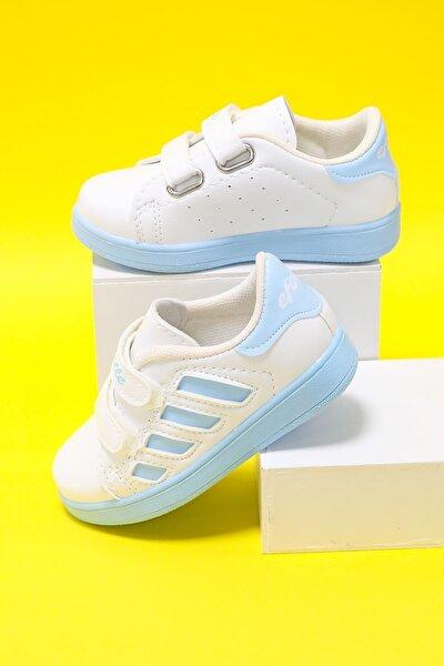Çocuk Beyaz Yanı Mavi Şeritli  Ayakkabı