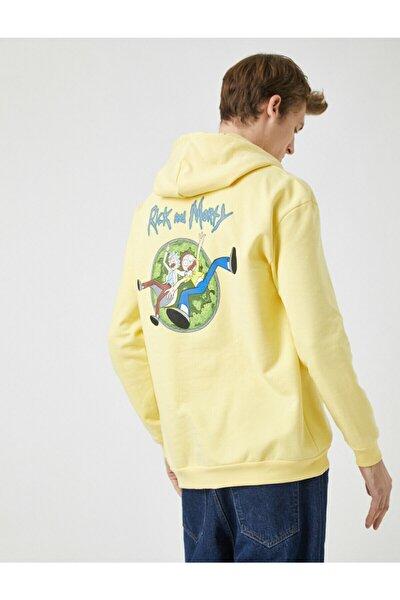 Erkek Sarı  Lisansli Baskili Kapüsonlu Pamuklu Sweatshirt