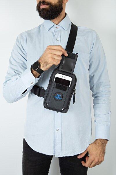 Erkek Mavi Çarpraz Tek Kol Telefon Çantası
