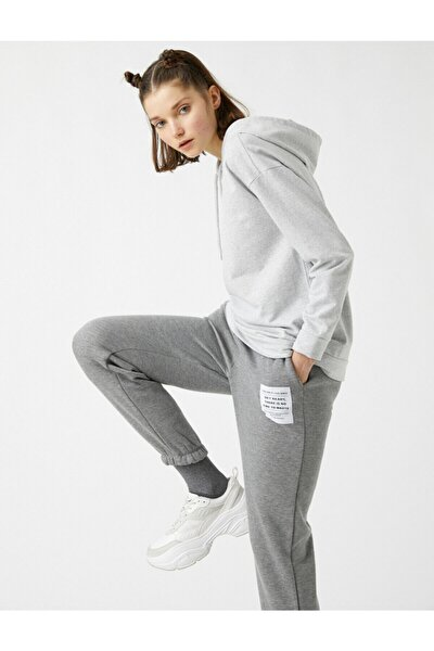 Kadın Gri Kapüşonlu Sweatshirt