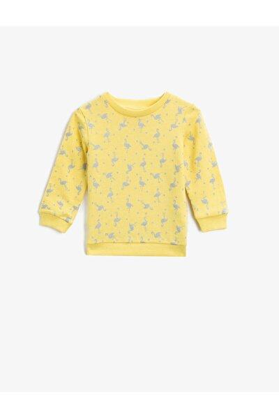 Kız Çocuk Sarı Pamuklu Baskılı Bisiklet Yaka Uzun Kollu Sweatshirt