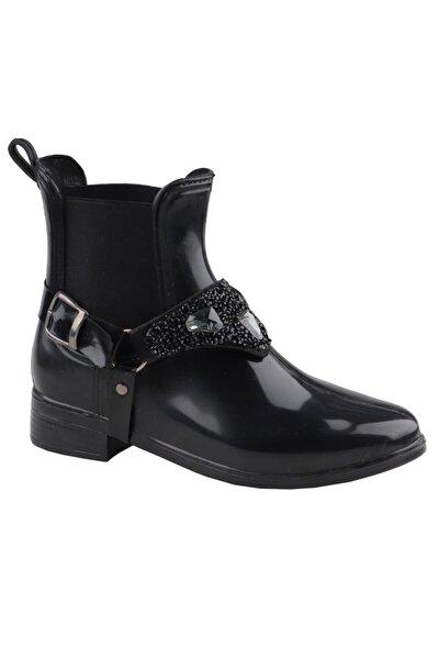 Siyah 111 Su Geçirmez Bayan Kısa Çizme Ayakkabı