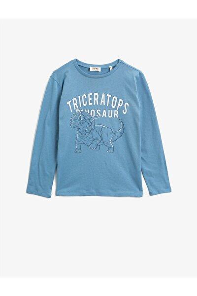 Erkek Çocuk Mavi Yazılı Baskılı Bisiklet Yaka Pamuklu Sweatshirt