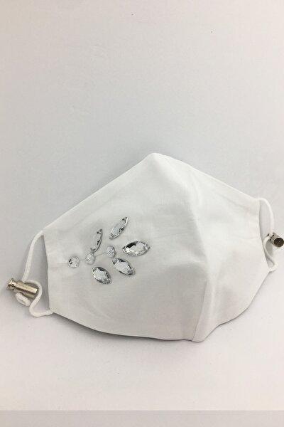 Kumaş Maske Beyaz Taşlı Pamuklu Kumaş Maske Çift Katlı Yıkanabilir