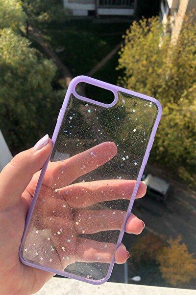 Iphone 7 Plus 8 Plus Sim Yıldızlı Lila Kenarlı Telefon Kılıfı