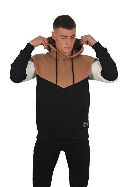 Erkek Kahverengi Parçalı Kapüşonlu Kanguru Cepli Sweatshırt