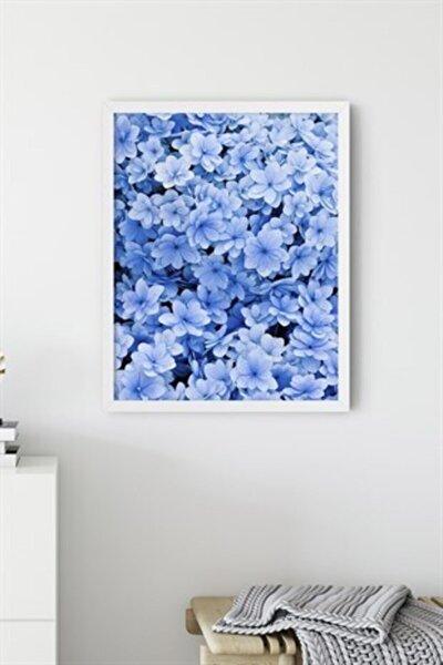 Mavi Çiçekler Çerçevesiz 30x40 Cm Poster Tablo