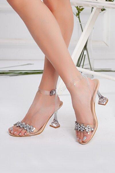 Kadın Şeffaf Taşlı Stiletto Topuklu Ayakkabı