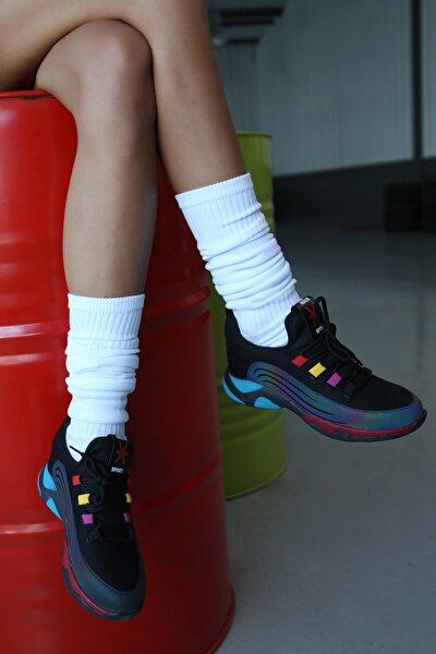 Kadın Siyah Düz Taban Sneaker
