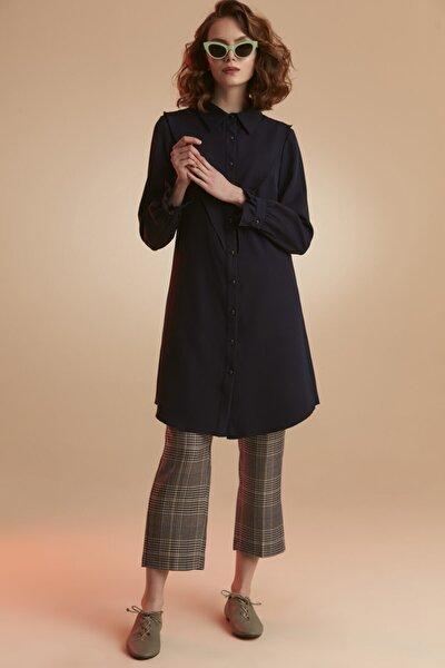 Kadın Lacivert Pelerinli Tunik