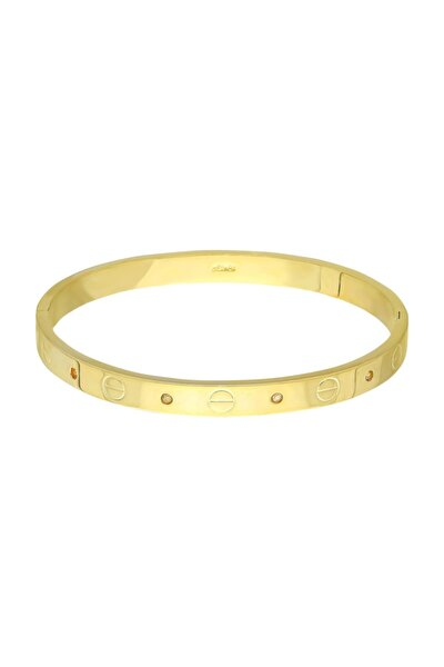Kadın Altın Kelepçe Dizayn Taşlı Bileklik Du22sr