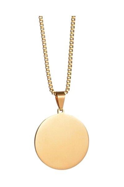 Unisex Sarı Yuvarlak Madalyon Çelik Kolye eb36