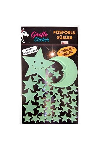 Yeşil Karanlıkta Parlayan Fosforlu Ay ve Yıldız Tasarımlı Dekoratif Sticker 36 Adet