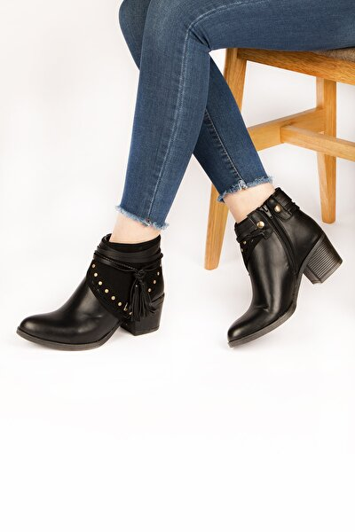 Kadın Siyah Topuklu Çizme