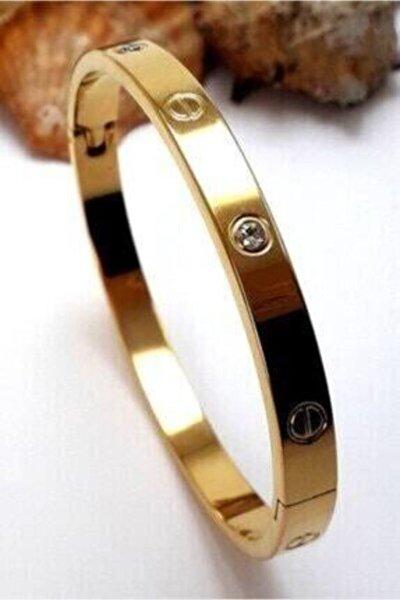 Cartier Zirkon Taşlı Paslanmaz Çelik Bileklik Bilezik Gold