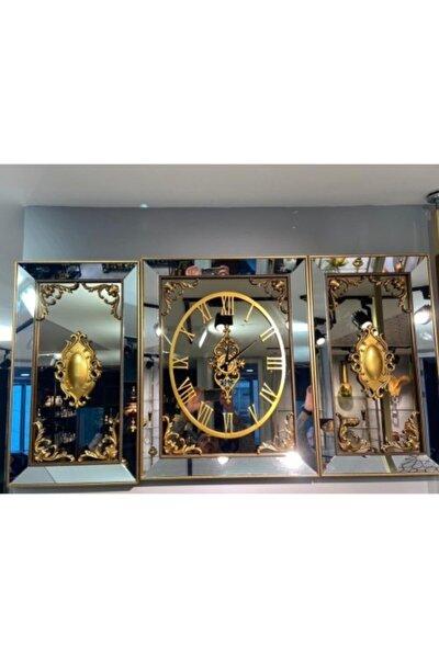 Gold Aynalı Dekoratif 3'lü Duvar Saati