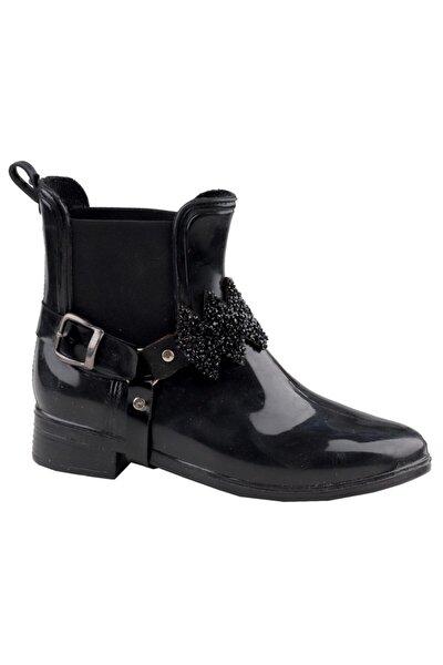 Siyah 108 Su Geçirmez Bayan Kısa Çizme Ayakkabı