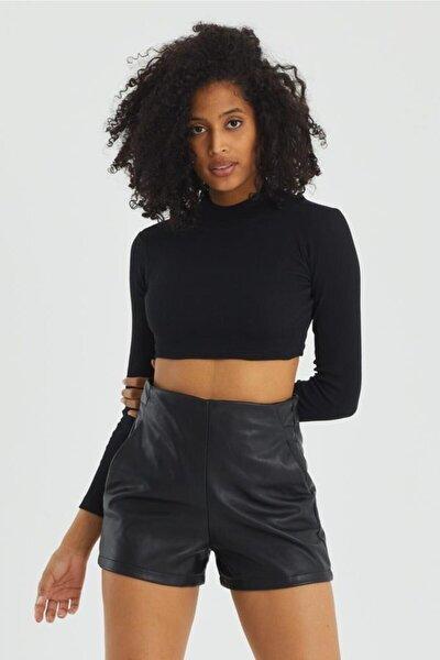 Kadın Siyah Kaşkorse Kumaş Balıkçı Yaka Crop Bluz